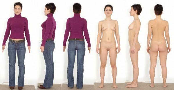 Девушки в одежде и без ее